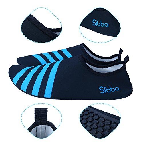 Sibba Unisex Barfuß Wasserhaut Aqua Schuhe Schnell Trocken Beach Swim Surf Yoga Trainingsschuhe für Frauen Männer und Kinder Blau