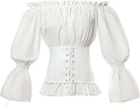 Dahee Blusa gótica de Renacimiento Lolita Camisa Medieval con Hombros Descubiertos para Mujer - - Large: Amazon.es: Ropa y accesorios