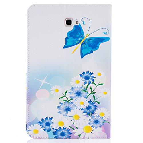 Trumpshop Smartphone Carcasa Funda Protección para Samsung Galaxy Tab A 10.1 Pulgadas (T580) + Dont Touch Me (Sorcerer) + PU Cuero Caja Protector Billetera Choque Absorción Mariposa azul