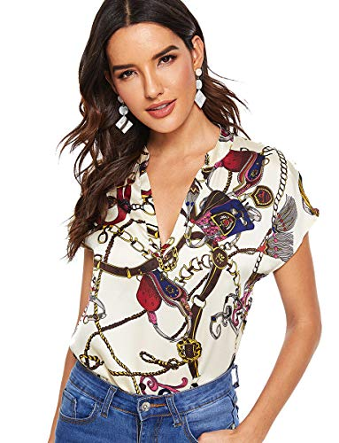 Romwe Women's Paisley Print Short Sleeve High Low Hem Summer Chiffon Blouse Top Multicolore L