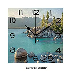 SCOCICI 8 inch Square Clock Pastoral Spring Time Scenery in Provincial Countryside Lake Beach Shallow Water Theme Unique Wall Clock-for Living Room, Bedroom or Kitchen Use