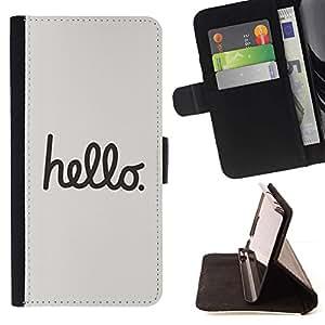 For Samsung Galaxy Note 3 III Case , Citar Texto minimalista gris Caligrafía- la tarjeta de Crédito Slots PU Funda de cuero Monedero caso cubierta de piel