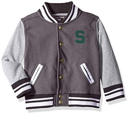 NCAA Michigan State Spartans Children Unisex Toddler Letterman Jacket, 5/6 Toddler, Pewter/Oxford