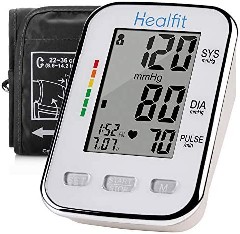 Blood Pressure Monitor Cuff Kit by Healfit Digital BP Meter with Large Display Upper Arm Cuff Backlit LCD Screen Set Also Comes with Device Bag BP Monitor