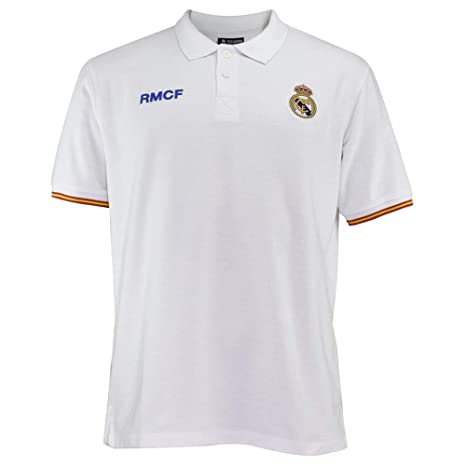 Polo Real Madrid Adulto Blanco Escudo Bordado [AB3912]: Amazon.es ...