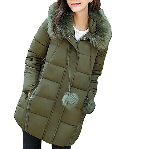Slim Thicker Trenchcoat Solid Streetwear Down Jacket Outwear Coat Parka Casual Green Puffa Jacket Warm Solid Jacket Anglewolf Fashion Womens Fit Overcoat Down Collar Hair New Army Winter Lammy wax0qI