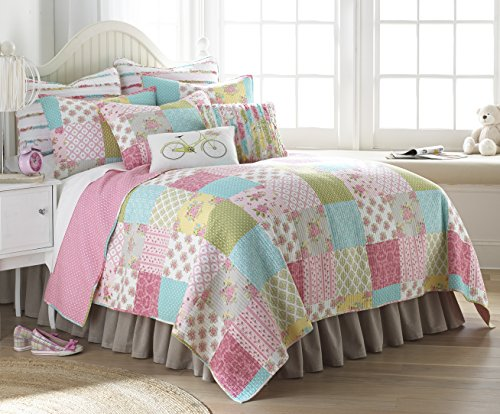 - Levtex Vintage Rose Grdn F/Q Qlt Set Pink, Blue, White, Yellow Patchwork