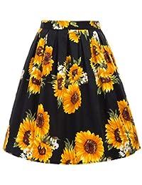 GRACE KARIN Women's Vintage High Waist Skirt A-Line Midi Skirts with Pocket