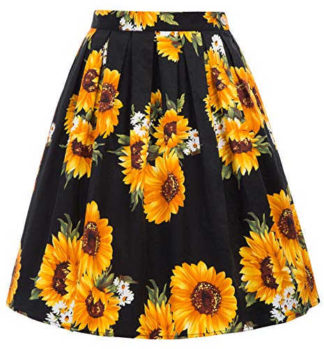 GRACE KARIN Women Sunflower Pleated Retro Swing Skirts Size 3XL CL6294-32