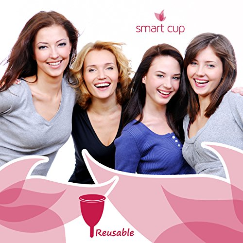 Smart Cup Menstrual Period Cup - Soft Comfort Fit - Best Non-toxic, Pliable & Reusable Feminine Care - Ovulation Calendar Included (Small for Pre-Childbirth)