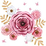 Paper Flowers Wall Decor, Large 3D Flower Wall Backdrop with Pink Butterfly for Girl Room Decor, Baby Nursery Shower…