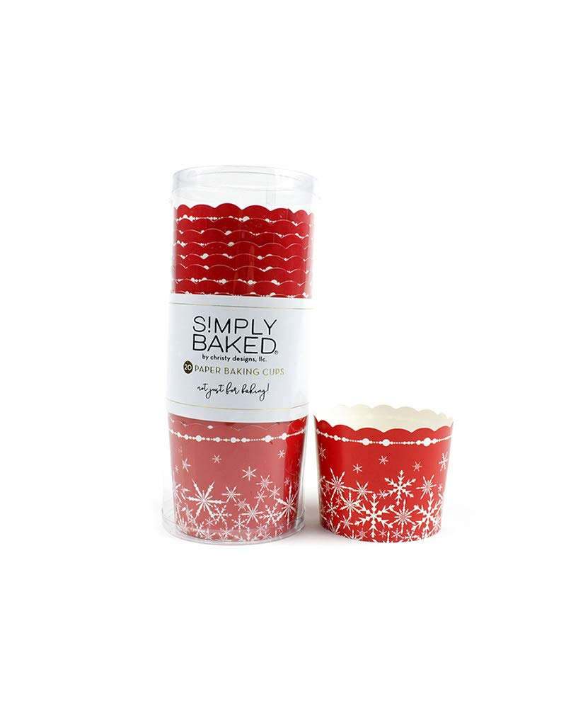 Simply Baked Set of 20 Large Holiday Baking Cups, Red Snowflake