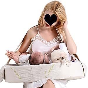 LJHA Almohadas de alimentación Almohada de Lactancia de Rebote Lento Almohada de Mujer Embarazada Almohada Corporal 630 * 600 mm Almohadas de enfermería (Color : A)