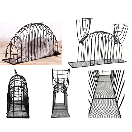Petacc Cat Cage Smooth Kitty Washing Cage Multifunctional Pet Shower Cage Steel Wire Cat House with Double Doors, Suitable for Injection, Bathing and Recovery, Black, S