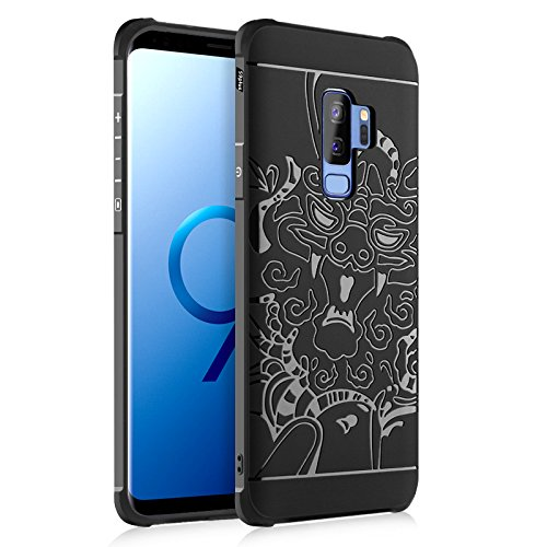 MyCase For Samsung Galaxy S9 Plus Genuine Quality TPU Ultra Slim Protective Case Silicone Shockproof Cover ( Color : Black , PATTERN : Dragon )