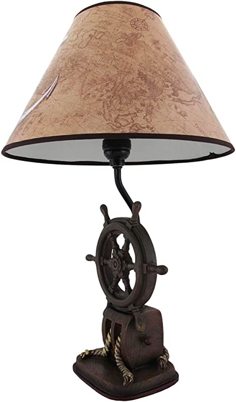 Captain S Destiny Ship S Wheel Nautical Boat Table Lamp Anchor Shade 19 Inch Nautical Table Lamp Amazon Com
