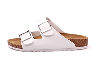 20b678f3a25c Unisex Adults Double Buckle Strap Cork Sole Flat Casual Slide Sandal for  Women and Men (