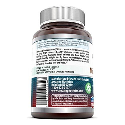 Amazing Formulas Micronized DHEA Dietary Supplement - 25mg Pure - 180 Capsules Per Bottle - Dehydroepiandrosterone Vitamin Capsules for Men & Women
