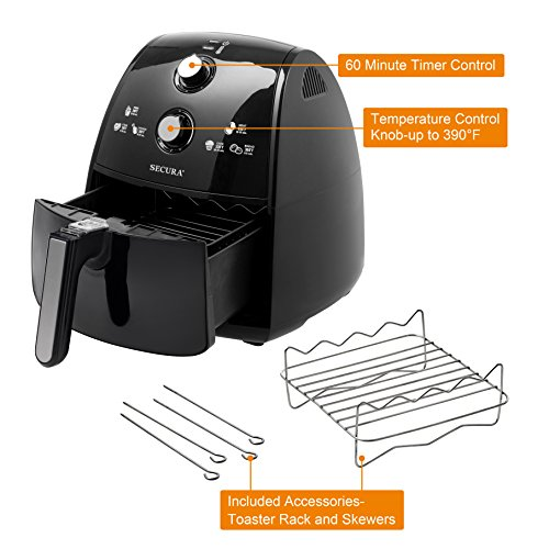 Secura 1500 Watt Extra Large Capacity 4-Liter Electric Hot Air Fryer and additional accessories; Recipes,Toaster rack and Skewers