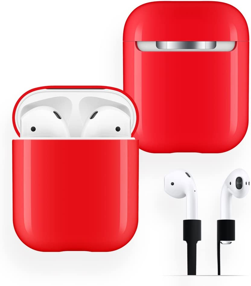 AirPods Case Protective, FRTMA Hard PC [No Collect Dust] Cover and Case for Apple AirPods with Anti-Lost Strap for AirPods Accessories (Red)