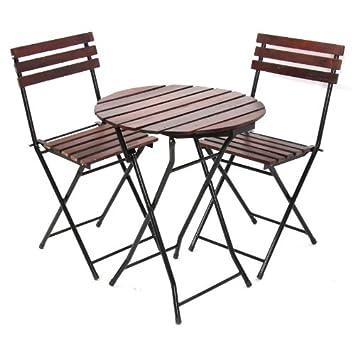 Ensemble bistrot/ pr jardin, table + 2 chaises, ronde (Ø=60cm), chaise  pliantes, métal+bois