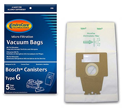EnviroCare Replacment Vacuum Bags for Bosch Type G Compact Series and Formula Series Canisters. 5 Pack (Bosch Formula)