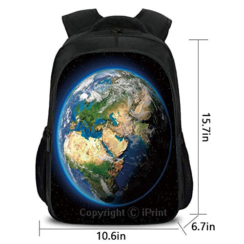 Children's Campus Backpack,Vivid Earth Globe with Blue Seas Greenery Volumetric Clouds Science Theme,School Bag :Suitable for Men and Women,School,Travel,Daily use,etc.Blue Green Sand Brown