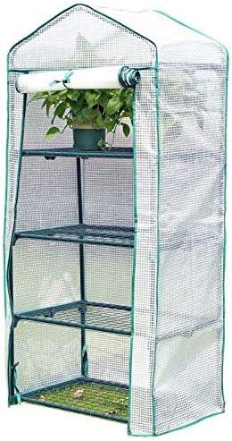 ビニールハウス 69×49×156 Cmの温室テント、植物成長部屋、ミニ温室の植栽は、植木鉢スタンドで小屋4層、白