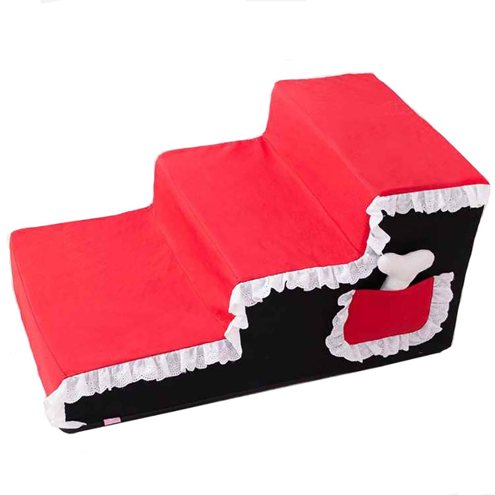 RED LXLX 3 Steps Dog Stairs Ladder For High Bed Couch, Washable Cover pet step cushion 67×40×33cm (color   RED)