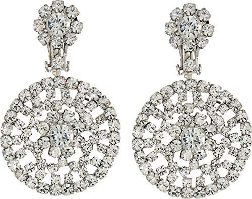 Kenneth Jay Lane Women's Silver/Crystal Circle Drop Clip Earrings Silver/Crystal One Size