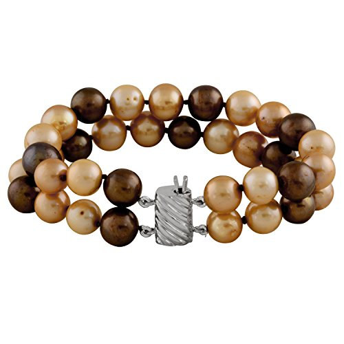 9-10mm multi chocolate double Handpicked AAA+ Freshwater Cultured Pearls Bracelet, 7.25