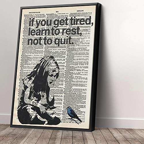 Banksy Girl If You Get Tired Learn To Rest Canvas Street Graffiti Canvas Art Wall Art Home Decor (40in x 60in Modern…