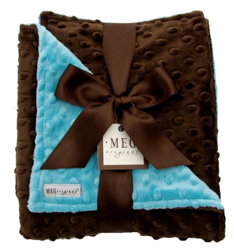 Chenille Boutique Bibs Baby - Meg Original Turquoise & Espresso Minky Baby Blanket
