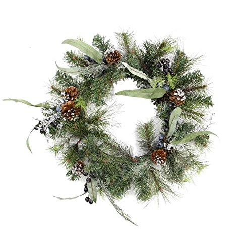 Northlight Unlit Artificial Mixed Pine with Blueberries Pine Cones and Ice Twigs Christmas Wreath, 24