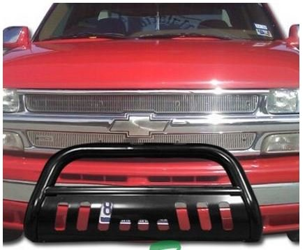 Black HAMMERED Stainless Steel Bull Bar Brush Bumper Grille Guard HEAVY SILVERADO/GMC SIERRA 1500 - Avalanche Brush Guards