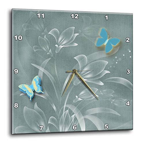 3dRose Pretty Damask Background in Sage Greens and Butterflies and Flowers Wall Clock, 13 by 13