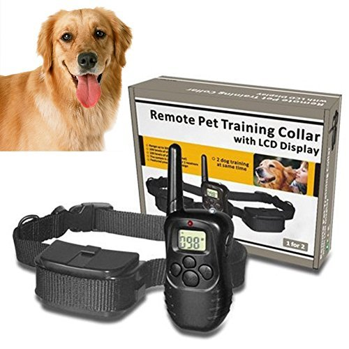 Dog Training Collar, Denpetec Pet Dog Training Collar 988D 300M LCD 100LV 300 Yard Level Electric Shock Vibration Remote with Battery & Retail Package