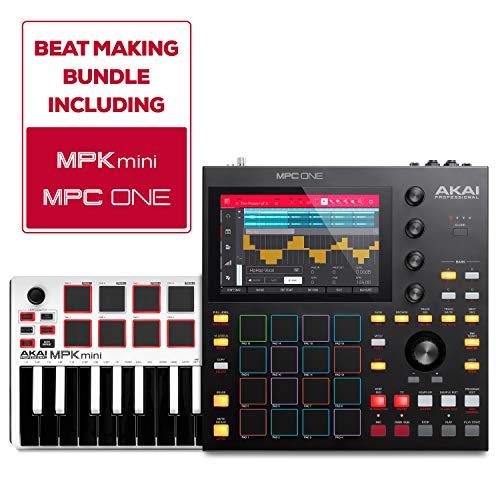 Akai Professional Beat Maker Bundle – MPC One Drum Machine/Sampler and MPK Mini MKII LE White MIDI Keyboard Controller