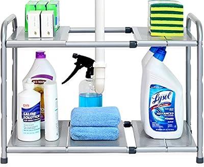 Under Sink 2 Tier Expandable Shelf Organizer