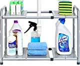 bathroom cabinet storage SimpleHouseware Under Sink 2 Tier Expandable Shelf Organizer Rack, Silver (expand from 15 to 25 inches)