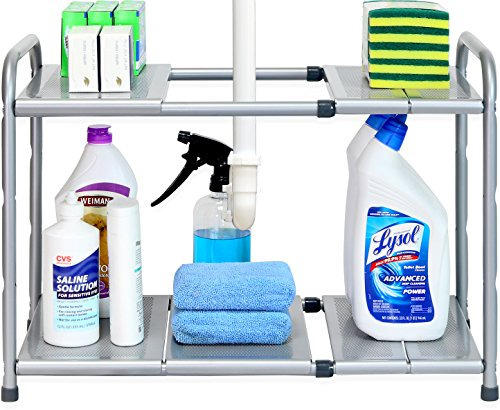 (SimpleHouseware Under Sink 2 Tier Expandable Shelf Organizer Rack, Silver (expand from 15 to 25 inches))