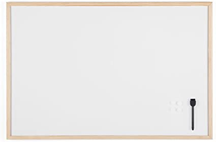 Bi-Office Budget - Pizarra blanca magnética con marco de madera de ...