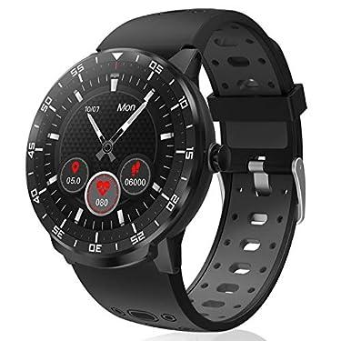 Smartwatch-Reloj-Inteligente-HopoFit-HF06-Pantalla-Tactil-Completa-Circular-Impermeable-Podometro-Pulsometros-Monitor-de-Sueno-Notificacion-Llamada-y-Mensajepara-Andriod-iOSHombres-Mujeresblack