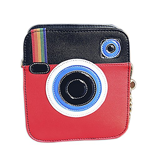 Purse Clutch Red Unique Camera Women Crossbody Snapshot Pu Leather Shaped Bag qqSw7xAz