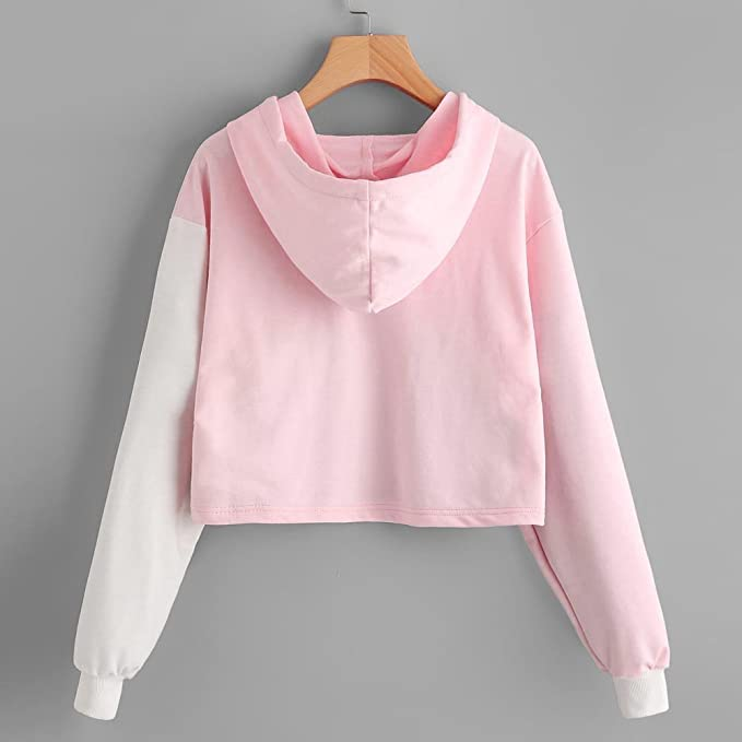 Women Sweatshirts Fashion Girl Patchwork Hoodied Shirt Long Sleeve ...