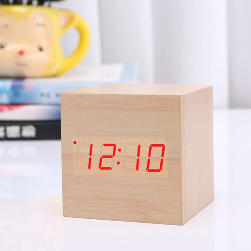 R/éveil en Bois Cube num/érique LED Horloge num/érique Bureau D/écoration Voyage Voyage Sound Control Clock