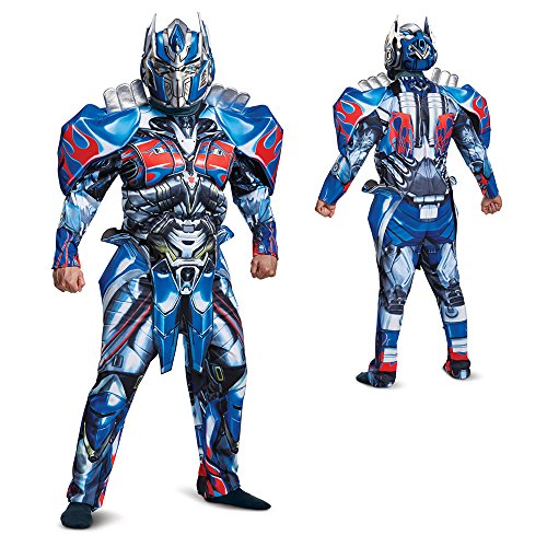 Optimus Prime Costumes Adults (Disguise Men's Optimus Prime Movie Deluxe Adult Costume, Blue, X-Large)