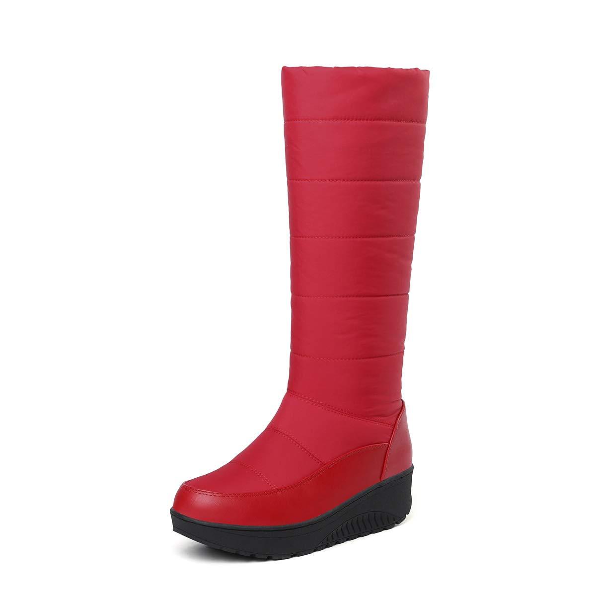 DANDANJIE Schneeschuhe Damen Winter Wasserdichte warme Stiefel Stiefel warme Outdoor Walking Rutschfeste Keilabsatzschuhe (schwarz rot) rot 42EU a84323