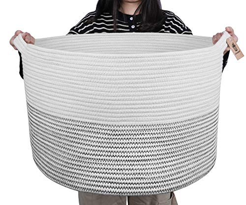 Goodpick Large Basket | Jumbo Woven Basket | Cotton Rope Basket | Baby Laundry Basket Hamper with Handles for Comforter, Cushions, Quilt, Toy Bins, Stuff Toy Baskets - Brown Stitch, 23.6