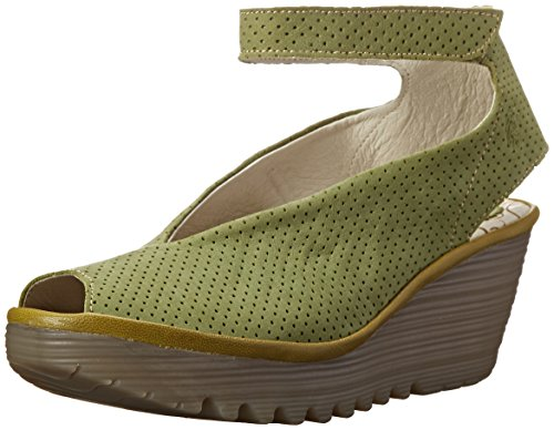 FLY London Womens Yala Perforated Wedge Sandal Pistachio/Light Green